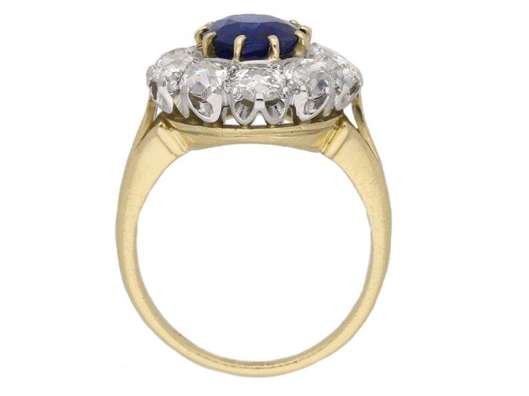 Edwardian sapphire and diamond  ring berganza hatton garden