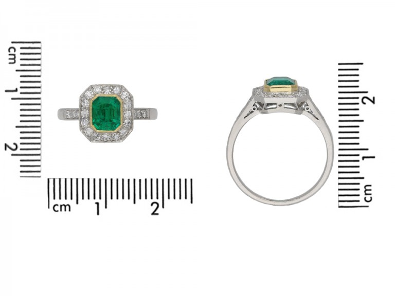 Colombian emerald and diamond cluster ring berganza hatton garden