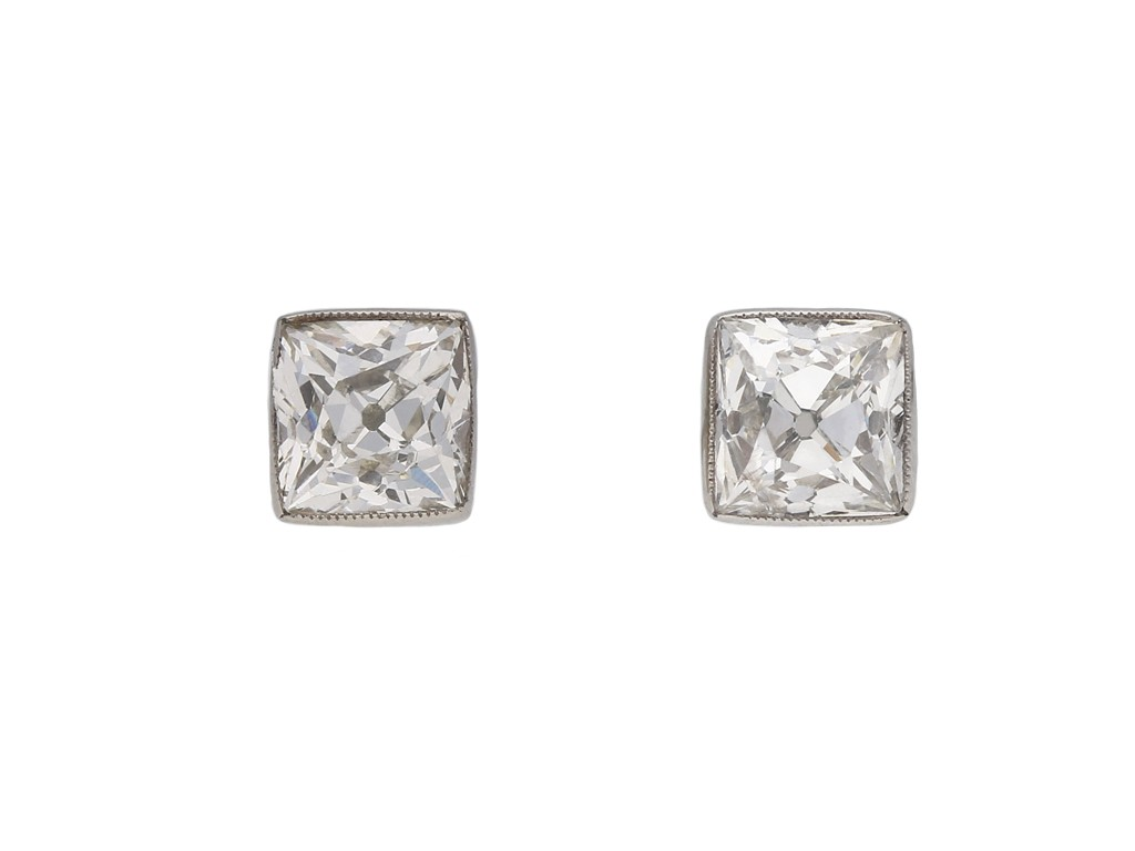 Art Deco diamond stud earrings berganza hatton garden