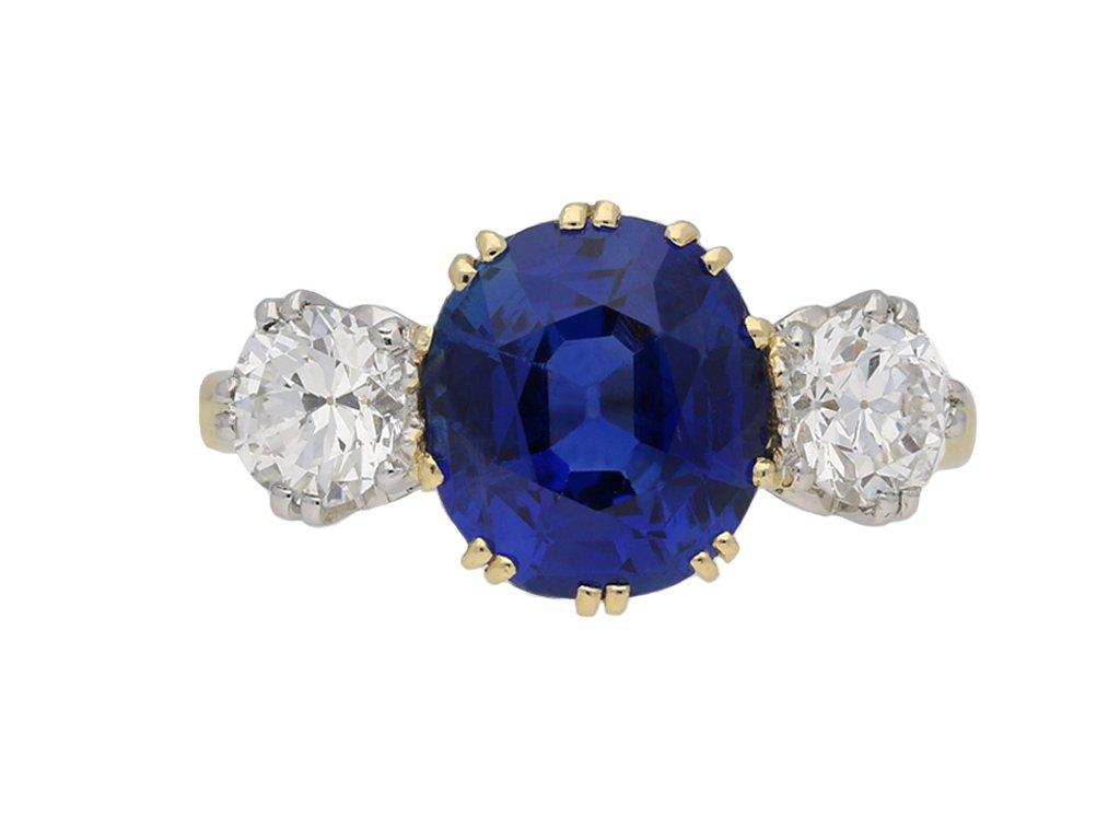 Burmese sapphire diamond three stone ring berganza hatton garden