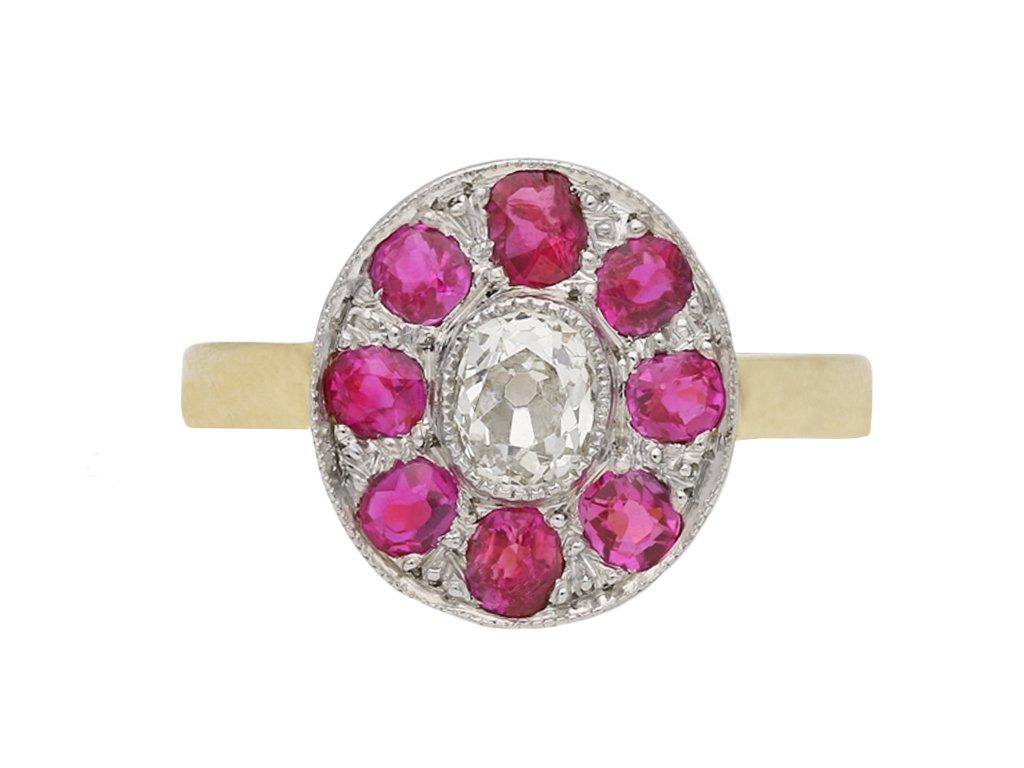coronet cluster diamond Burmese ruby ring berganza hatton garden