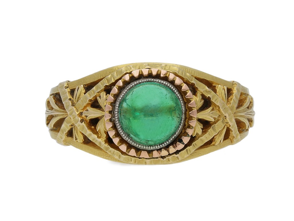 Belle Époque cabochon emerald ring berganza hatton garden
