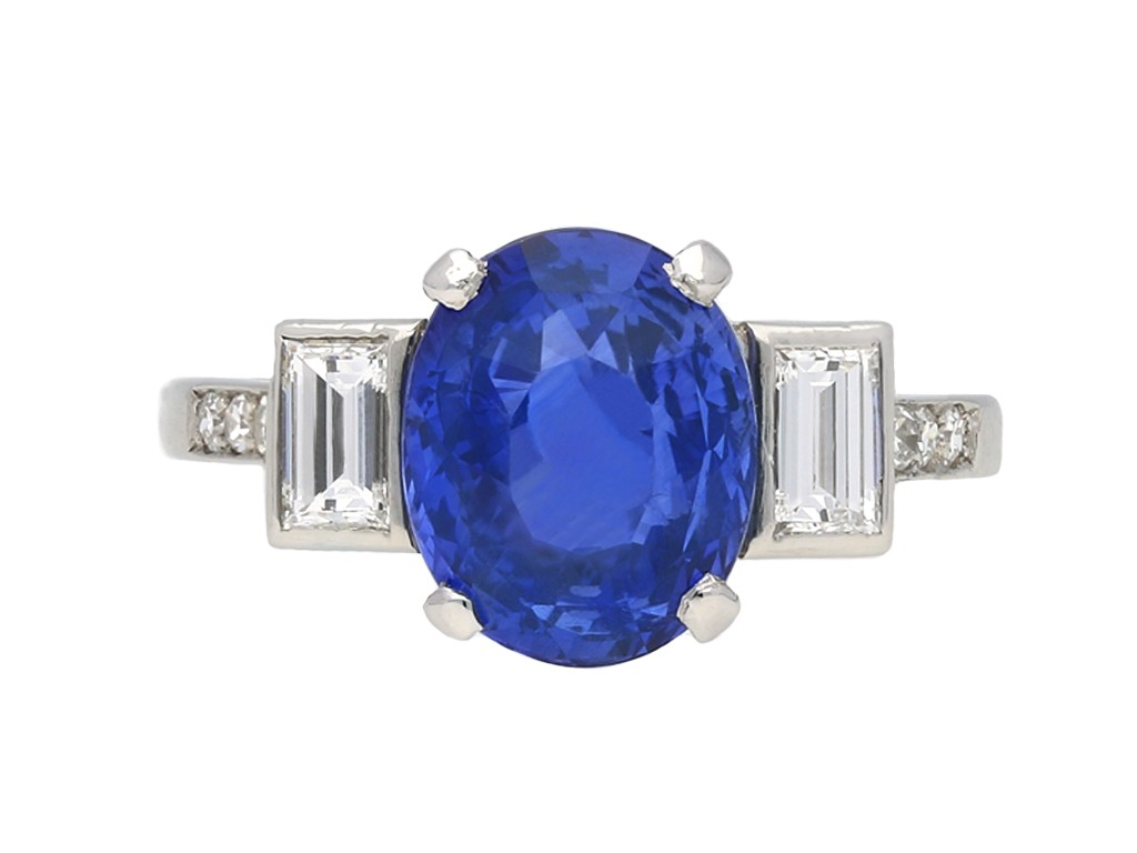 Vintage Ceylon sapphire and diamond ring berganza hatton garden