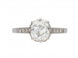 Antique cushion old mine diamond ring berganza hatton garden