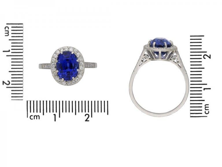 Burmese sapphire diamond cluster ring berganza hatton garden