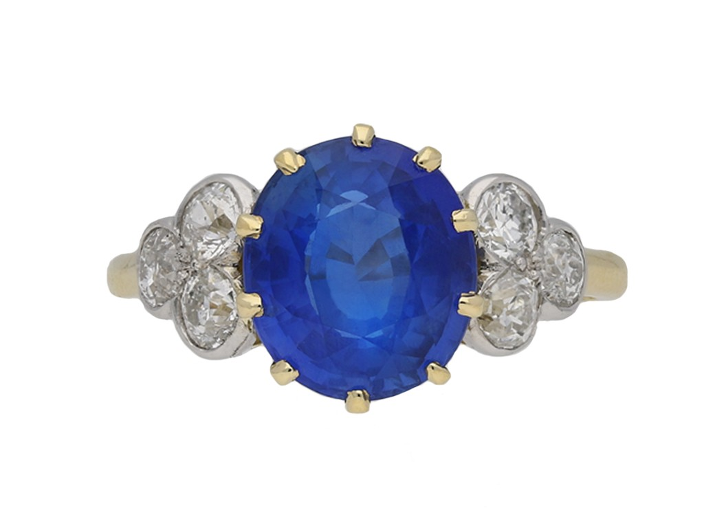Edwardian Ceylon sapphire and diamond ring berganza hatton garden