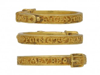 15th century engraved gold buckle ring berganza hatton garden
