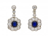 Antique Burmese sapphire diamond earrings berganza hatton garden