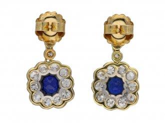 Antique Burmese sapphire diamond earrings berganza hatton garden