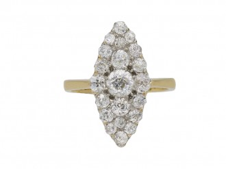 Old mine diamond marquise cluster ring berganza hatton garden