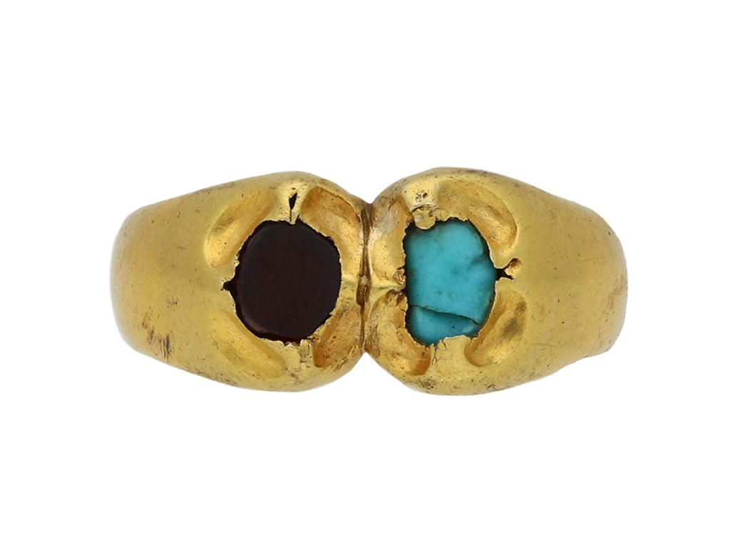 Medieval garnet and turquoise finger ring berganza hatton garden