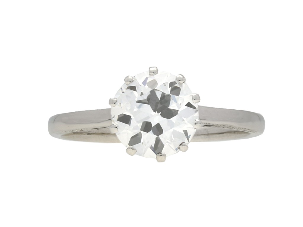 Art Deco diamond solitaire ring, English berganza hatton garden