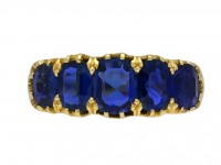 Victorian sapphire five stone ring berganza hatton garden