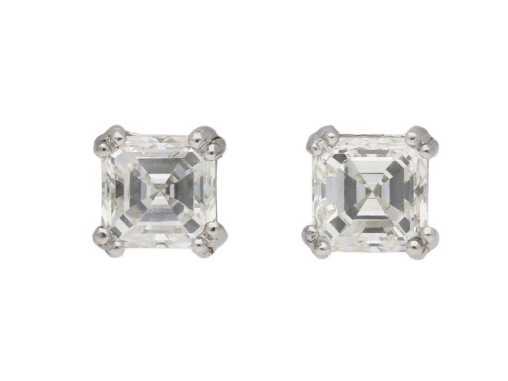 Vintage asscher cut diamond stud earrings berganza hatton garden