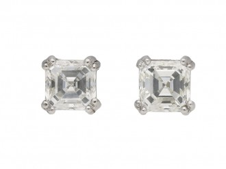 Vintage asscher cut diamond stud earrings berganza hatton garden