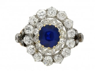 sapphire diamond cluster ring/bangleberganza hatton garden