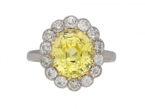 yellow sapphire diamond cluster ring berganza hatton garden