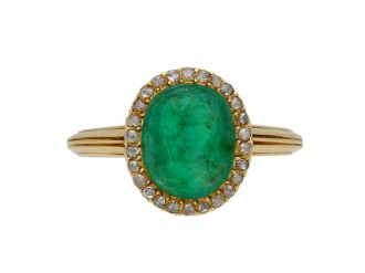 Art Nouveau Colombian emerald cameo ring berganza hatton garden