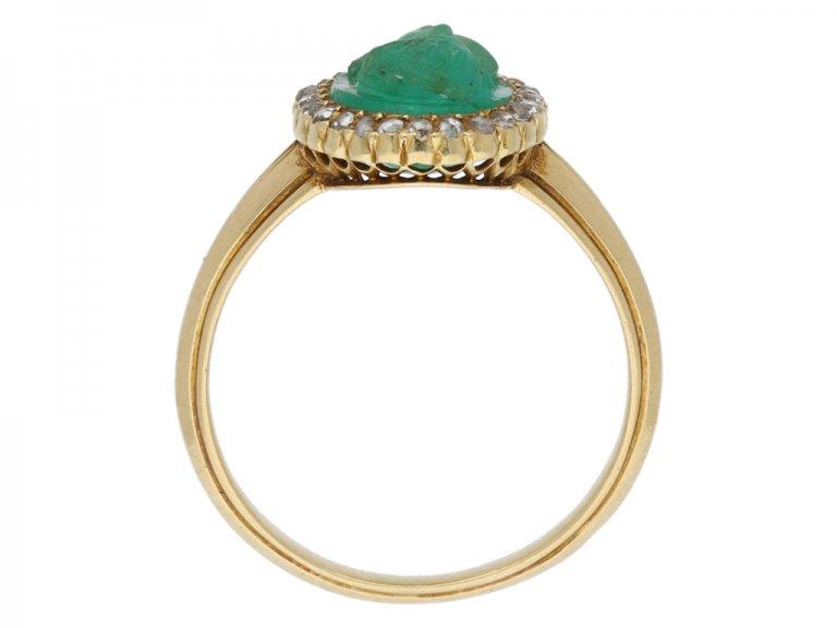 Art Nouveau Colombian emerald cameo ring berganza hatton garden