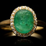 Art Nouveau Colombian emerald cameo ring, French, circa 1890.