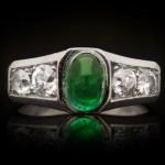 Art Deco cabochon Colombian emerald and diamond ring, French, circa 1930.