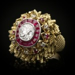 Vintage diamond and ruby ring by Sterlé, French, circa 1950.