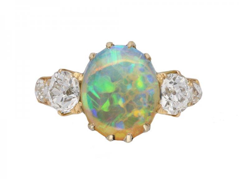 opal and diamond three stone ring berganza hatton garden