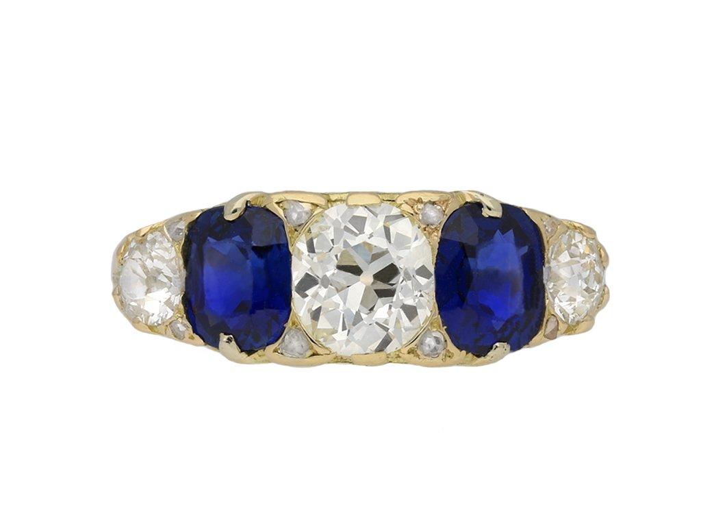 Victorian sapphire diamond five stone ring berganza hatton garden