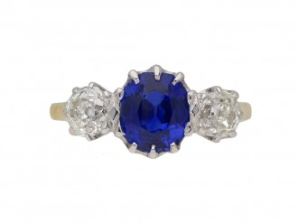Ceylon sapphire diamond three stone ringberganza hatton garden