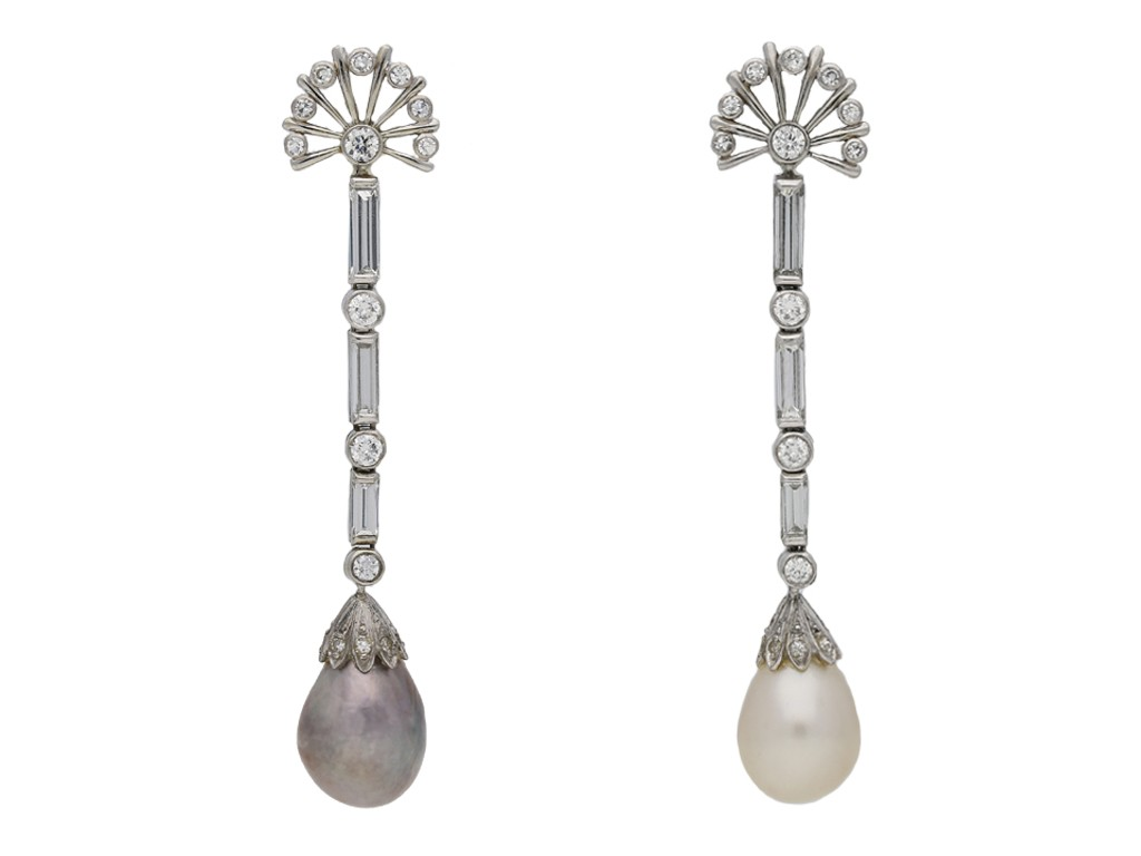 Vintage natural pearl and diamond earrings berganza hatton garden