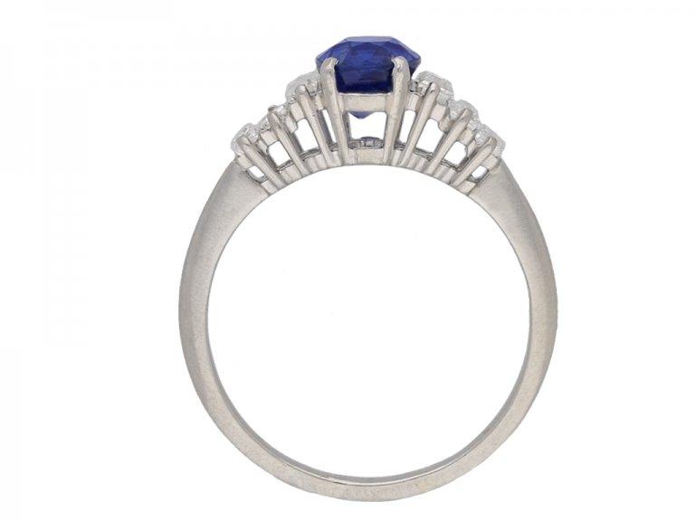 Vintage Ceylon sapphire and diamond ring berganza hatton garden