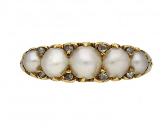 Victorian pearl diamond five stone ring berganza hatton garden
