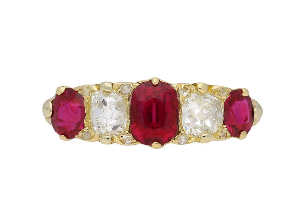 Victorian ruby and diamond five stone ring berganza hatton garden