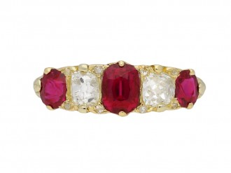 Victorian ruby and diamond five stone ring berganza hatton garden