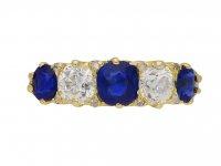 Victorian sapphire diamond carved ring berganza hatton garden