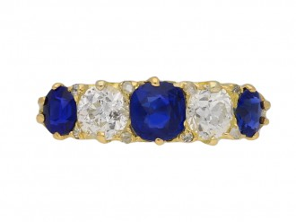Victorian sapphire diamond carved ring berganza hatton garden