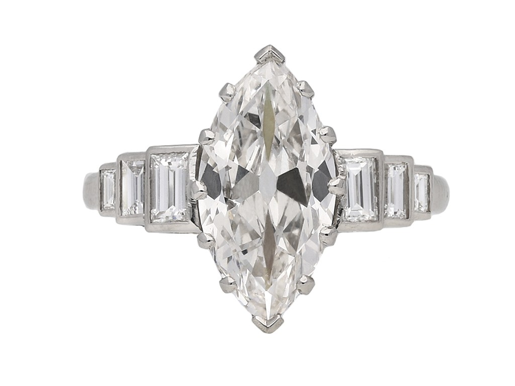 Art Deco marquise diamond ring berganza hatton garden