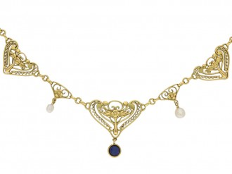 Art Nouveau sapphire and pearl necklace berganza hatton garden