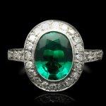 Colombian emerald and diamond coronet cluster ring, circa 1920.