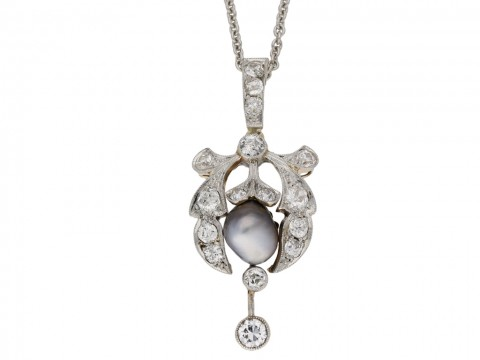 Belle Epoque natural pearl diamond pendant berganza hatton garden