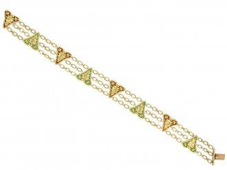 Art Nouveau plique à jour enamel bracelet berganza hatton garden