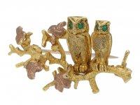 gold owl brooch by Alabaster & Wilson berganza hatton garden