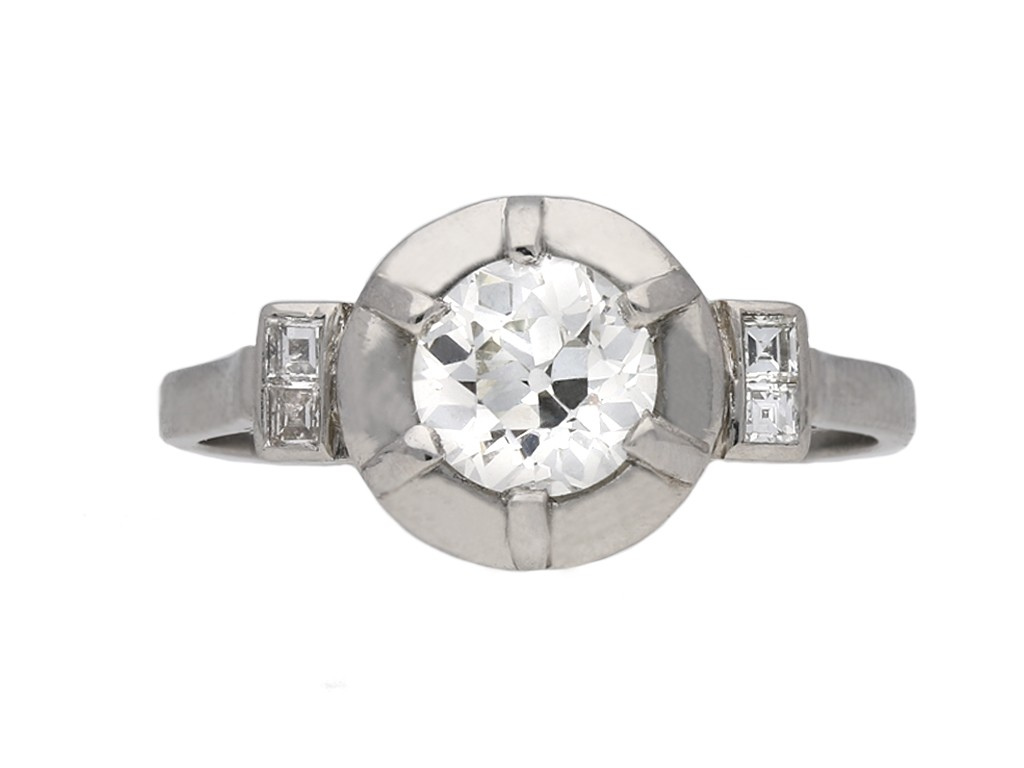 Art Deco diamond flanked solitaire ring berganza hatton garden
