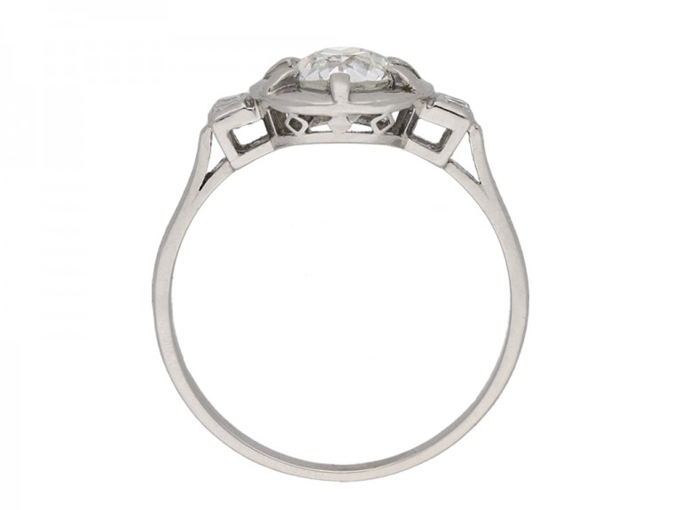 Art Deco diamond flanked solitaire ring berganza hatton garden