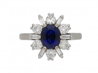 Sapphire and diamond ballerina ring berganza hatton garden