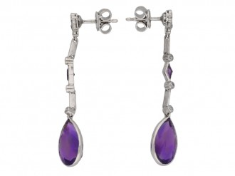 Art Deco Amethyst and Diamond Earrings berganza hatton garden