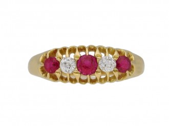 Edwardian five stone ruby and diamond ring berganza hatton garden