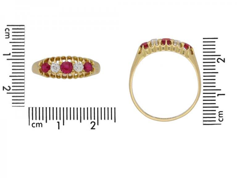 Edwardian five stone ruby and diamond ring berganza hatton garden