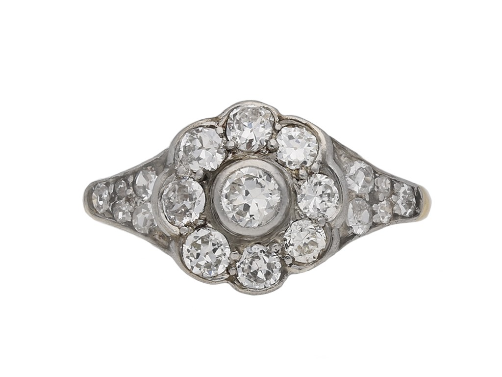 Edwardian diamond cluster ring berganza hatton garden
