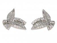 Vintage Diamond Leaf Shape Earrings berganza hatton garden